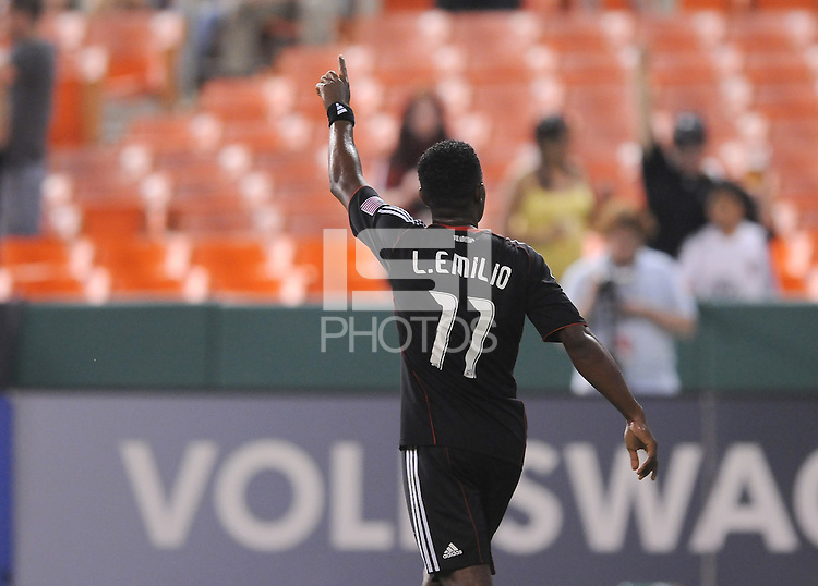 DC United forward Luciano Emilio (11) salutes the fans after scoring on a penalty kick in the 75th minute of the game.  DC United defeated Real Salt Lake 2-1 to advance to the round of 16 of the  U.S. Open Cup at RFK Stadium, Wednesday  June 2  2010.
