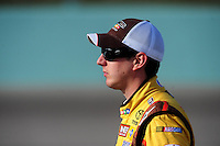 Nov. 20, 2009; Homestead, FL, USA; NASCAR Sprint Cup Series driver Kyle Busch during qualifying for the Ford 400 at Homestead Miami Speedway. Mandatory Credit: Mark J. Rebilas-
