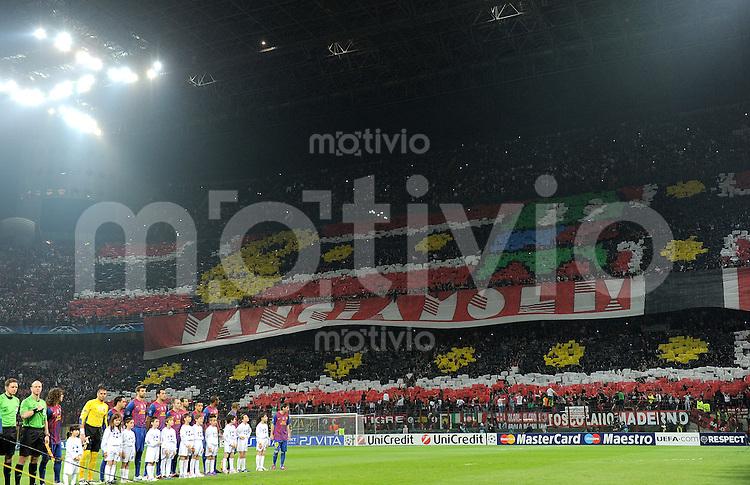 FUSSBALL   CHAMPIONS LEAGUE  VIERTELFINAL-HINSPIEL   2011/2012      AC Mailand - FC Barcelona             28.03.2012 Das Team von Barca im  Giuseppe Meazza Stadion