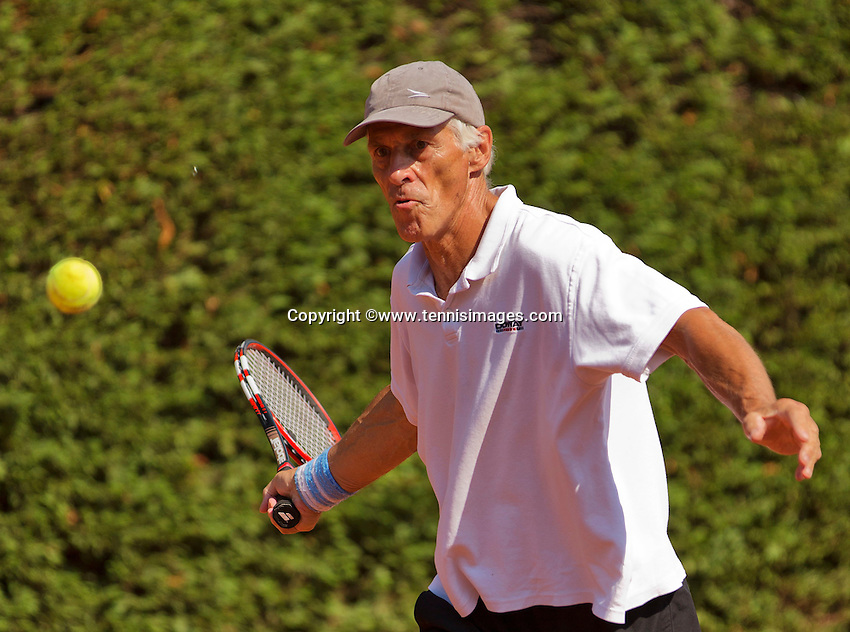 Netherlands, Amstelveen, August 22, 2015, Tennis,  National Veteran Championships, NVK, TV de Kegel,  Men's 70+, Ed Sasker<br /> Photo: Tennisimages/Henk Koster
