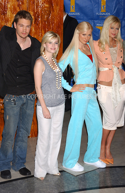 WWW.ACEPIXS.COM . . . . . ....NEW YORK, MAY 2ND, 2005....Paris Hilton unviels wax figure at Madem Tussaud's with the cast of her new film in House of Wax.....Please byline: KRISTIN CALLAHAN - ACE PICTURES.. . . . . . ..Ace Pictures, Inc:  ..Craig Ashby (212) 243-8787..e-mail: picturedesk@acepixs.com..web: http://www.acepixs.com