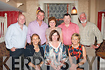 Elizebeth Murphy,Causeway(seated centre)celebrated her 40th birthday last Saturady night in Kirby's Brogue,Tralee,also seated is Tina Kearney(Lt)and Michelle Duffy(Rt).Back L-R Owen Dineen,Stephan&Nora Kearney,Ivon Maher and Mike Kearney.