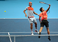 Feliciano Lopez (ESP) and Marc Lopez (ESP)(4) action against  Henri Kontinen (FIN) and John Peers (AUS)(5) in their John McEnroe  Group  match during Day Two of the Barclays ATP World Tour Finals 2015 played at The O2 Arena, London on November 14th  2016
