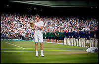 Image ©Licensed to i-Images Picture Agency. 10/07/2016. London, United Kingdom. Wimbledon Tennis Championships 2016-Day Thirteen. Andy Murray Wins The  Men's Final on Centre Court,  v  Milos Raonic in the Wimbledon Tennis Championships 2016,  Picture by Andrew Parsons / i-Images