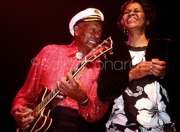 Saturday, December 13, 2008--St. Louis rock legend Chuck Berry laughs with his daughter, Ingrid, during a a sold-out show at The Pageant..Sarah Conard | freelance
