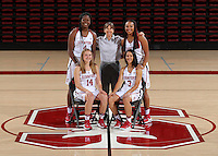 STANFORD, CA - September, 20, 2016: The 2016-2017 Stanford Women's Basketball Team. Mikaela Brewer, Anna Wilson, Nadia Fingall, Tara VanDerveer, Dijonai Carrington