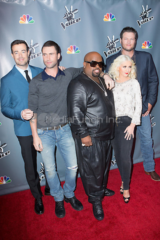 "UNIVERSAL CITY, CA - NOVEMBER 07:  Carson Daly, Coaches Cee Lo Green, Christina Aguilera, Adam Levine, and Blake Shelton at NBC's ""The Voice"" Season 5 Top 12 in Universal City Plaza, on November 7th, 2013 in Universal City, California Photo Credt: RTNRossi / MediaPunch Inc."