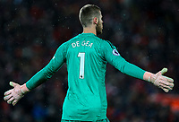 Manchester United's David De Gea<br /> <br /> Photographer AlexDodd/CameraSport<br /> <br /> The Premier League - Liverpool v Manchester United - Sunday 16th December 2018 - Anfield - Liverpool<br /> <br /> World Copyright &copy; 2018 CameraSport. All rights reserved. 43 Linden Ave. Countesthorpe. Leicester. England. LE8 5PG - Tel: +44 (0) 116 277 4147 - admin@camerasport.com - www.camerasport.com