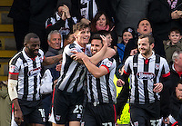 Calum Dyson (2nd left) of Grimsby Town celebrates his goal with Chris Clements of Grimsby Town during the Sky Bet League 2 match between Grimsby Town and Wycombe Wanderers at Blundell Park, Cleethorpes, England on 4 March 2017. Photo by Andy Rowland / PRiME Media Images.