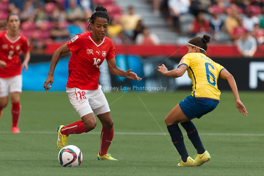June 12, 2015: Eseosa AIGBOGUN of Switzerland runs with the ball during a Group C match at the FIFA Women's World Cup Canada 2015 between Switzerland and Ecuador at BC Place Stadium on 12 June 2015 in Vancouver, Canada. Switzerland won 10-1. Sydney Low/AsteriskImages