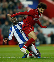 Mohamed Salah of Liverpool goes in high on Danilo Pereira of FC Porto and is lucky not to get a red card during the UEFA Champions League Quarter Final first leg match between Liverpool and Porto at Anfield on April 9th 2019 in Liverpool, England. (Photo by Daniel Chesterton/phcimages.com)<br /> Foto PHC/Insidefoto <br /> ITALY ONLY