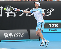 16th January 2019, Melbourne Park, Melbourne, Australia; Australian Open Tennis, day 3; Andreas Seppi  of Italy in action against Nikoloz Basilashvili of Georgia