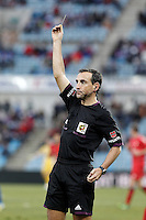 Spanish referee Jose Antonio Teixeira Vitienes show yellow card during La Liga match.December 15,2012. (ALTERPHOTOS/Acero) /NortePhoto