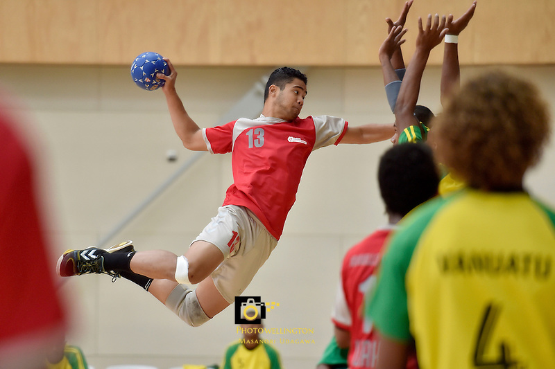 Action from the IHF Trophy Tournament Oceania at ASB Sports Centre, Kilbirnie, Wellington, New Zealand on Thursday 11 December 2014. <br /> Photo by Masanori Udagawa. <br /> www.photowellington.photoshelter.com.