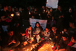 Palestinian light candles during a protest against killing of Italian activist Vittorio Arrigoni in Gaza City, 15 April 2011. Hamas authorities in the Gaza Strip condemned as a 'shameful crime' the kidnap and killing of Italian activist Vittorio Arrigoni whose body was found 15 April hours after he had been abducted by radical Islamists. Arrigoni, an Italian activist for the International Solidarity Movement (ISM), was found dead in an abandoned house in the north of the Gaza Strip in the early hours 15 April. Photo by Mohammed Othman
