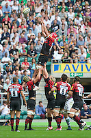 Mouritz Botha of Saracens collects the lineout ball during the Aviva Premiership match between Saracens and London Irish at Twickenham on Saturday 1st September 2012 (Photo by Rob Munro)