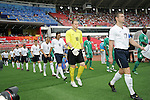 13 August 2008: Captain Brian McBride (USA) (17) and goaltender Brad Guzan (USA) (18) lead the United States team onto the field, pregame.  The men's Olympic team of Nigeria defeated the men's Olympic soccer team of the United States 2-1 at Beijing Workers' Stadium in Beijing, China in a Group B round-robin match in the Men's Olympic Football competition.