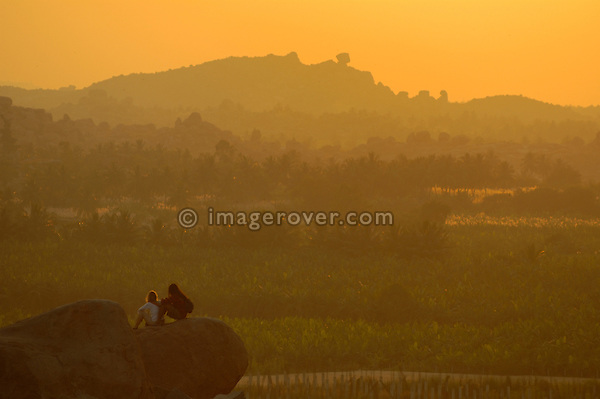 India, Karnataka, Hampi. Sunset view from Hemakuta Hill (Temple Hill).