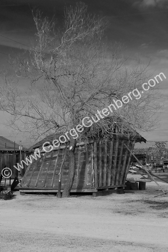 Photo of old barn propped-up to prevent it from falling over