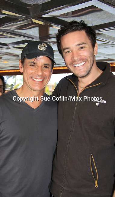 Young and Restless Christian LeBlanc and Guiding Light Tom Pelphrey at SoapFest's Celebrity Weekend - Cruisin' and Schmoozin' on the Marco Island Princess - mix and mingle and watching dolphins - autographs, photos, live auction raising money for kids on November 11, 2012 Marco Island, Florida. (Photo by Sue Coflin/Max Photos)
