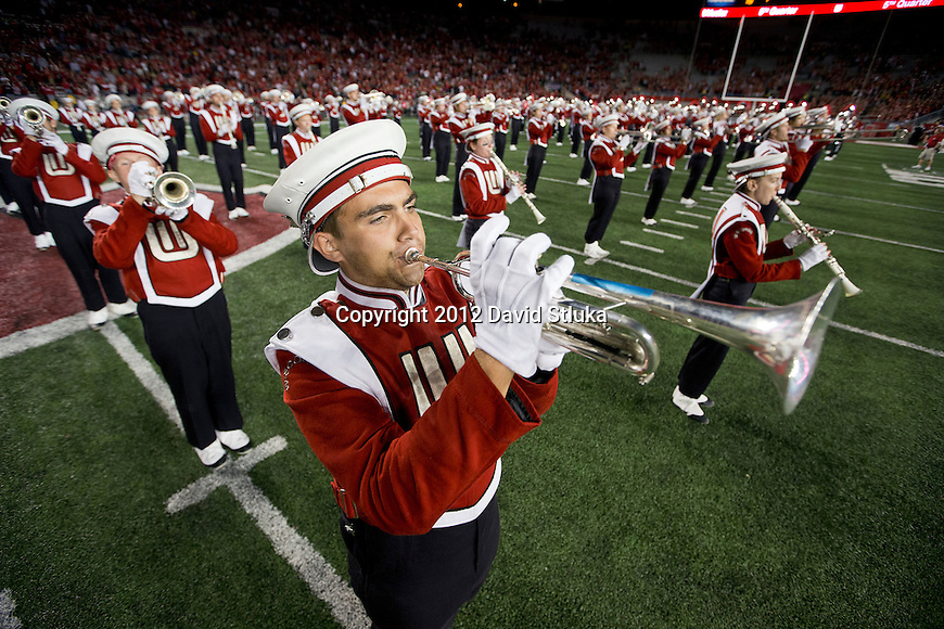 "Wisconsin Badgers band plays during the famed ""5th Quarter"" after an NCAA College Football game against the Utah State Aggies Saturday, September 15, 2012 in Madison, Wis. The Badgers won 16-14. (Photo by David Stluka)"