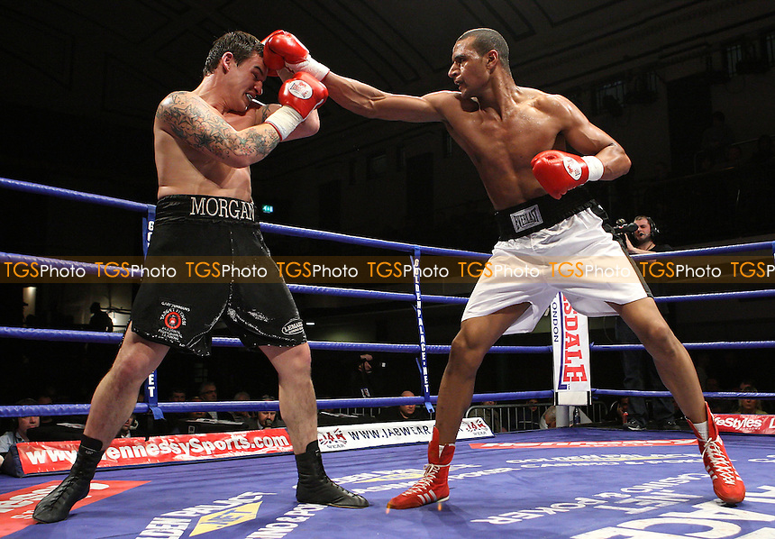 Bob (Adubakar) Ajisafe (Darlington, white shorts) defeats Victor Smith (Waltham Abbey, black shorts) in a Cruiserweight contest at York Hall, promoted by Hennessy Sports - 22/02/08 - MANDATORY CREDIT: Gavin Ellis/TGSPHOTO. Self-Billing applies where appropriate. NO UNPAID USE. Tel: 0845 094 6026