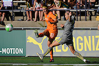 Yael Averbuch (13) of Sky Blue FC crosses the bal past Sarah Senty (5) of the Philadelphia Independence. The Philadelphia Independence defeated Sky Blue FC 2-1 during a Women's Professional Soccer (WPS) match at John A. Farrell Stadium in West Chester, PA, on June 6, 2010.