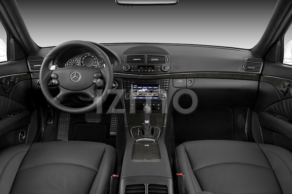 Straight dashboard view of a 2009 Mercedes E63 AMG Wagon.