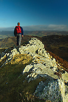 A walker looking across Glensax from Newby Kipps on the Glensax Horseshoe near Peebles, Scottish Borders<br /> <br /> Copyright www.scottishhorizons.co.uk/Keith Fergus 2011 All Rights Reserved