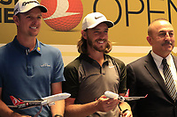 Justin Rose and Tommy Fleetwood (ENG) with Mevlut Cavusoglu, Minister of Foreign Affairs, at a press conference during Wednesday's Pro-Am of the 2018 Turkish Airlines Open hosted by Regnum Carya Golf &amp; Spa Resort, Antalya, Turkey. 31st October 2018.<br /> Picture: Eoin Clarke | Golffile<br /> <br /> <br /> All photos usage must carry mandatory copyright credit (&copy; Golffile | Eoin Clarke)