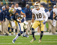 Pittsburgh Panthers wide receiver Kevin Weatherspoon (88) catches a kickoff under special teams coverage by safety Max Redfield (10).