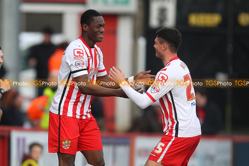 Armand Gnanduillet of Stevenage (L) scores the first goal for his team and celebrates during Stevenage vs Accrington Stanley, Sky Bet League 2 Football at the Lamex Stadium, Stevenage, England on 19/12/2015