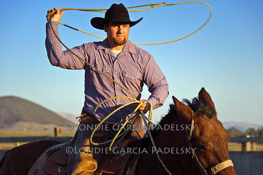 Cowboy roping at sunset in San Luis Obispo, California