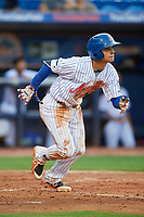 St. Lucie Mets shortstop Andres Gimenez (12) runs to first base during the first game of a doubleheader against the Charlotte Stone Crabs on April 24, 2018 at First Data Field in Port St. Lucie, Florida.  St. Lucie defeated Charlotte 5-3.  (Mike Janes/Four Seam Images)