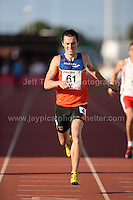 International athletics at Cardiff International stadium, Cardiff, South Wales - Tuesday 15th July 2014<br /> <br /> Alexander Carew of Australia wins the Men's 400m final 'A' race. <br /> <br /> <br /> Photo by Jeff Thomas Photography
