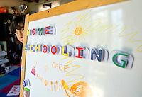 homeschooling, educazione parentale, educazione domestica.<br /> Thomas dietro la lavagna