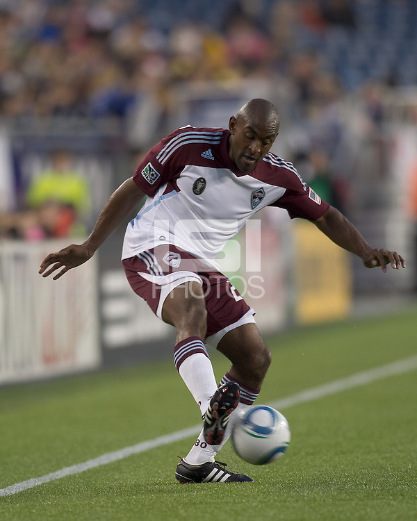 Colorado Rapids defender Marvell Wynne (22) passes the ball. In a Major League Soccer (MLS) match, the New England Revolution tied the Colorado Rapids, 0-0, at Gillette Stadium on May 7, 2011.