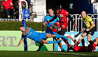 12th January 2020; RDS Arena, Dublin, Leinster, Ireland; Heineken Champions Cup Rugby, Leinster versus Lyon Olympique Universitaire; Dave Kearney of Leinster stretches to score the first try of the match in the 10th minute 5 - 0  - Editorial Use