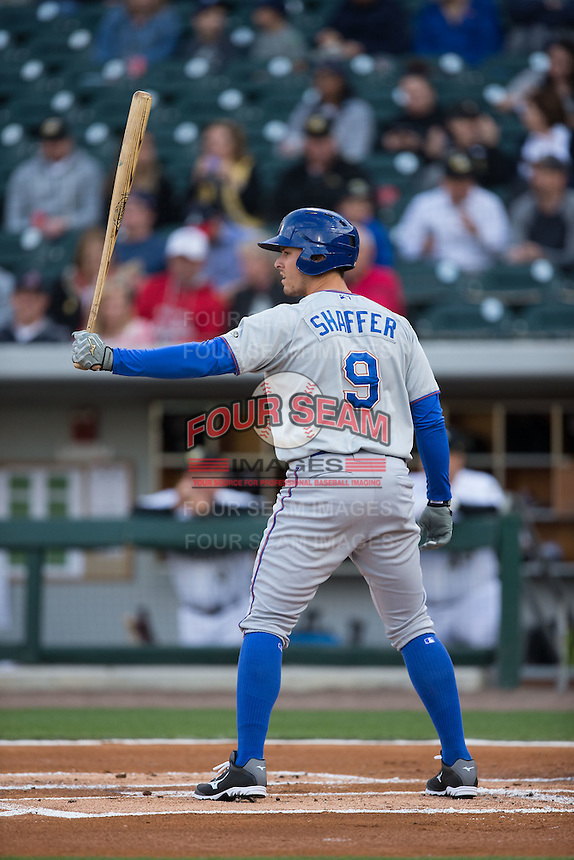 Richie Shaffer (9) of the Durham Bulls at bat against the Charlotte Knights at BB&T BallPark on April 14, 2016 in Charlotte, North Carolina.  The Bulls defeated the Knights 2-0.  (Brian Westerholt/Four Seam Images)