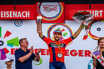 Sonny Colbrelli (ITA) Team Bahrain-Merida wins Stage 4 of the Deutschland Tour 2019, running 159.5km from Eisenach to Erfurt, Germany. 1st September 2019.<br /> Picture: ASO/Henning Angerer | Cyclefile<br /> All photos usage must carry mandatory copyright credit (© Cyclefile | ASO/Henning Angerer)