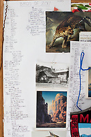 Lists of every bird she's seen this year and in her five years of birdwatching hang among sketches and other things she likes on a bulletin board in Jada Fitch's living room, which doubles as her art studio, in Portland, Maine, USA, on Fri., July 28, 2017. Fitch has recently been making birdhouses that look like living rooms with small portraits of birds. The birdhouses sell out within minutes on her Etsy store. Fitch has also recently started a project for which she will paint every bird that she has seen in the order that she has seen them.