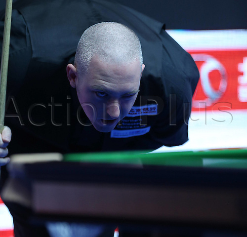 30.03.2016. Beijing, China.  David Grace of England competes during the first round match against Shaun Murphy of England at the 2016 World Snooker China Open in Beijing,