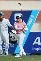 Ayako Uehara watches her drive off of the 5th tee during Round 3 at the ANA Inspiration, Mission Hills Country Club, Rancho Mirage, Calafornia, USA. {03/31/2018}.<br />