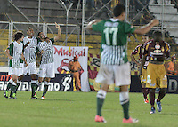 IBAGUÉ -COLOMBIA, 23-06-2013. Jugadores de Atlético Nacional celebran la victoria sobre Deportes Tolima durante partido de los cuadrangulares finales, fecha 3, de la Liga Postobón 2013-1 jugado en el estadio Manuel Murillo Toro de la ciudad de Ibagué./ Atletico Nacional players celebrate the victory over Deportes Tolima during match of the final quadrangular 3th date of Postobon  League 2013-1 at Manuel Murillo Toro stadium in Ibague city. Photo: VizzorImage/STR