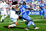 Marcelo Vieira da Silva Junior of Real Madrid (L) fights for the ball with Amath Ndiaye Diedhiou of Getafe CF (R) during the La Liga 2017-18 match between Getafe CF and Real Madrid at Coliseum Alfonso Perez on 14 October 2017 in Getafe, Spain. Photo by Diego Gonzalez / Power Sport Images