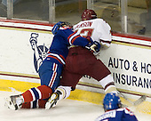 Daniel Furlong (Lowell - 6), Cam Atkinson (BC - 13) - The Boston College Eagles defeated the visiting University of Massachusetts-Lowell River Hawks 5-3 (EN) on Saturday, January 22, 2011, at Conte Forum in Chestnut Hill, Massachusetts.