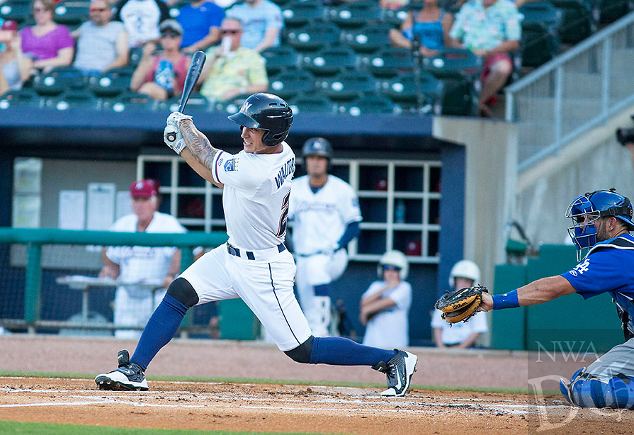 Tulsa Drillers vs NWA Naturals -  Zach Walters of the Naturals hits a line drive up the center against the Tulsa Drillers at Arvest Ballpark, Springdale, AR, Thursday, July 13, 2017,  © 2017 David Beach