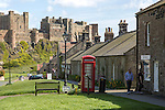 Bamburgh castle and village, Northumberland, England, UK