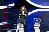 1st December 2017, State Kremlin Palace, Moscow, Russia;  Spains former  player Carles Puyol shows H2 during the Final Draw of the FIFA World Cup at the Kremlin Palace in Moscow, capital of Russia, Dec. 1, 2017.