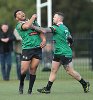 Linwood Keas celebrate winning the Canterbury Rugby League Grand Final against the Hornby Panthers at Nga Puna Wai in Christchurch, New Zealand on Sunday, 25 August 2019. Photo: Martin Hunter / lintottphoto.co.nz